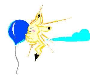 Pikachu stuck to balloon b/c of static cling