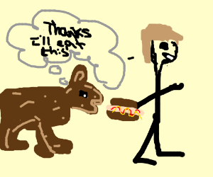 dog is eating a guy's hot dog