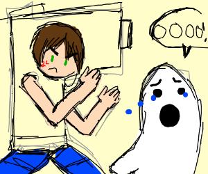 ghost runs in terror from man in gun costume