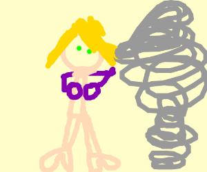Tornado want to kill a woman that wearing bra