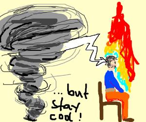 thunderstorm sets man on fire