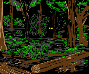 The glowing eyes of the beast in the woods.