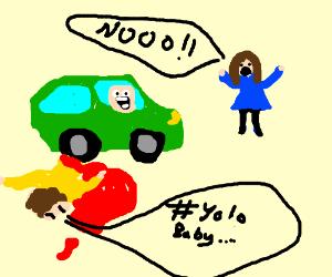 Girl watching a car reverse over her boyfriend