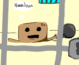 Sad cardboard box hopes to get out of jail