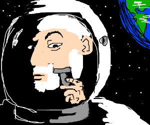 Astronaut shaving inside his spacesuit