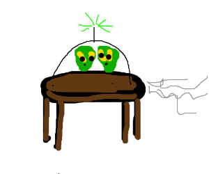 Table spaceship flies into a portal