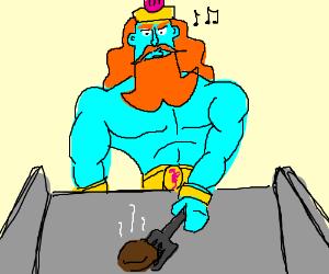 King Neptune cooks Krabby Patties