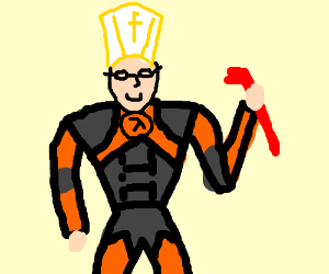 The pope wearing half-life gear
