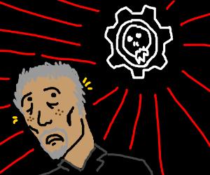 Morgan Freeman is afraid of Gears of War logo