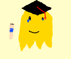 Pac-man yellow ghost gets his PhD