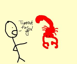 Boy tells Scorpian to go in timeout
