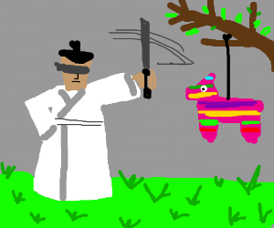 Blindfolded Samurai Jack VS pinata.