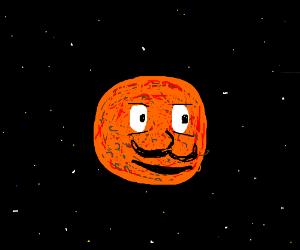 Mars has got eyes, pimples and moustache