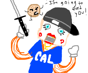 Waffle monster eats Lil' Cal holding a sword