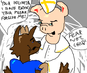 Pope St. Porkus forgives a lost wolf.