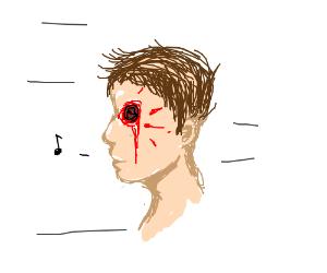 happily speed walking stabbed in eye