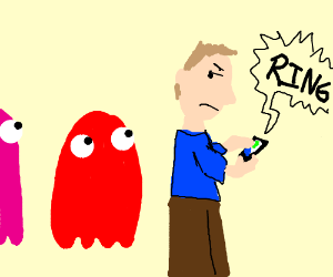 Man with phone is annoyed by Pac Man ghosts