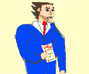 Senpai Phoenix Wright notices your low grades