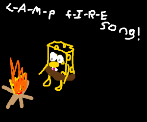 Spongebob by the campfire.