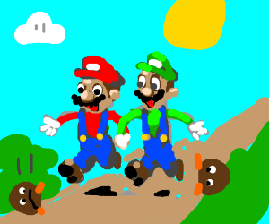 Mario and Luigi being happy!