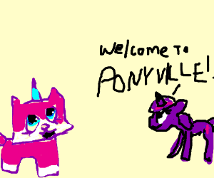 Princess Unikitty visits Ponyville