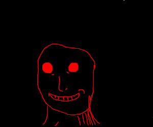 creepy dude with red outlines on black bg