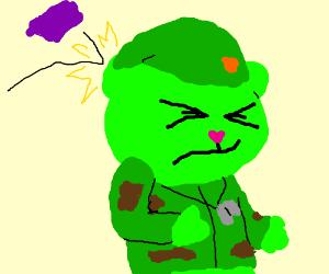 Flippy is hit by a purple rock