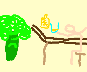 Broccoli is upset that he can't stand alcohol