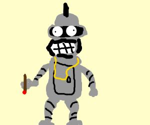 Bender wears a MR. T costume