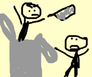 Man in plastic bag throws cleaver at other man