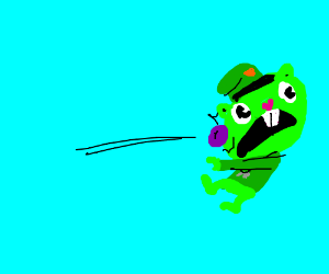 Flippy getting hit by a plum
