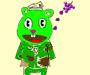 Flippy from Happy Tree Friends hit by grape.