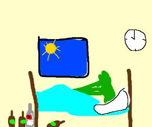 Broccoli binge drinks and sleeps in late