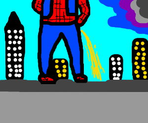 Spiderman pees off building