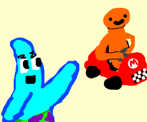 blue patrick and orange guy in Mario Kart