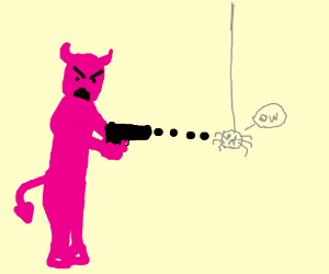 A pink demon shoots at an invisible spider