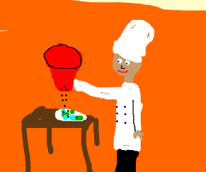 Chef with huge pepper shaker