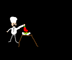 Chef puts pepper on his dish