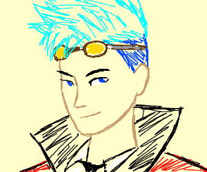 An ime guy with cyan hair