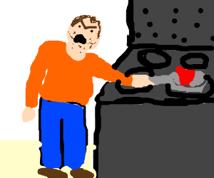 angry man cooking a heart