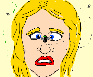 Fly lands on cross-eyed blonde woman