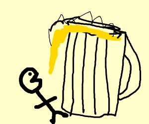 stick figure drinks giant beer
