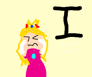 Princess Peach is scared of floating letter 'I