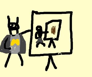 batman drawing a ninja drawing a paper bag