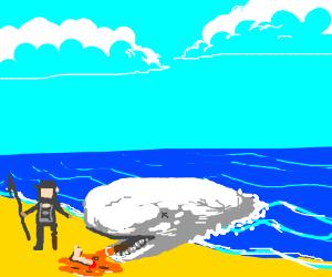 White whale regurgitates Ahab's leg onto beach