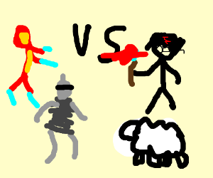 Iron Man and Bender Vs Harry Potter and sheep