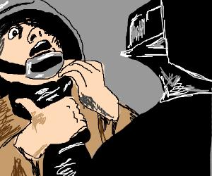 Darth Vader chokes guy... with his hands.