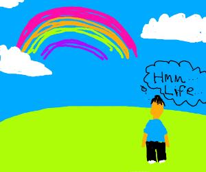 Man stares at rainbow re-thinking life itself.