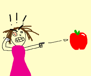 Crazy lady flips out and shoots an apple