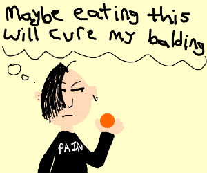 Emo guy offsets his bald patch by eatin orange